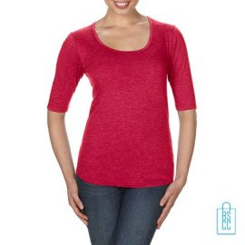 Longsleeve Dames lage hals bedrukken rood, longsleeve bedrukt, bedrukte longsleeve met logo
