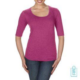 Longsleeve Dames lage hals bedrukken roze, longsleeve bedrukt, bedrukte longsleeve met logo