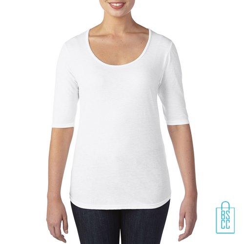 Longsleeve Dames lage hals bedrukken wit, longsleeve bedrukt, bedrukte longsleeve met logo