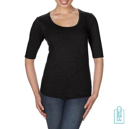 Longsleeve Dames lage hals bedrukken zwart, longsleeve bedrukt, bedrukte longsleeve met logo