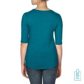 Longsleeve Dames lage hals bedrukt blauw, longsleeve bedrukt, bedrukte longsleeve met logo