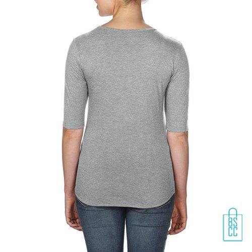 Longsleeve Dames lage hals bedrukt met logo lichtgrijs, longsleeve bedrukt, bedrukte longsleeve met logo