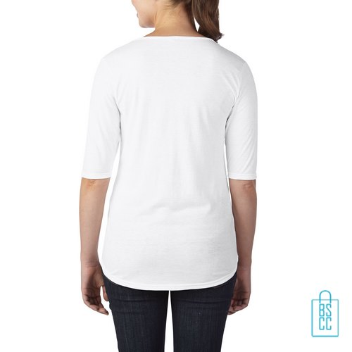 Longsleeve Dames lage hals bedrukt met logo wit, longsleeve bedrukt, bedrukte longsleeve met logo