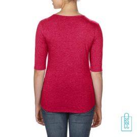 Longsleeve Dames lage hals bedrukt rood, longsleeve bedrukt, bedrukte longsleeve met logo