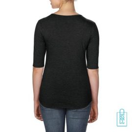 Longsleeve Dames lage hals bedrukt zwart, longsleeve bedrukt, bedrukte longsleeve met logo