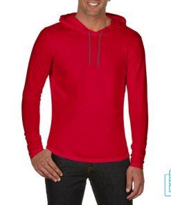 Longsleeve Heren Capuchon bedrukken rood, capuchon bedrukt, bedrukte capuchon met logo