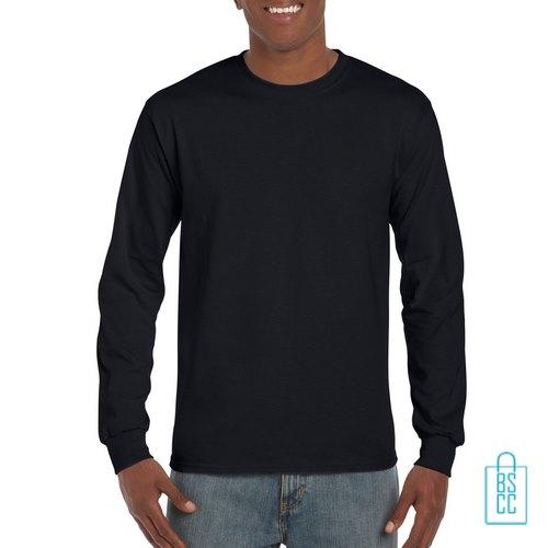 Longsleeve Heren Goedkoop bedrukken Zwart, longsleeve bedrukt, bedrukte lange mouw met logo
