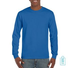 Longsleeve Heren Goedkoop bedrukken blauw, longsleeve bedrukt, bedrukte lange mouw met logo
