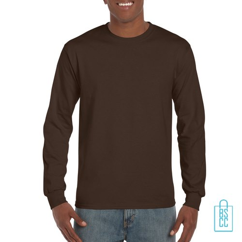 Longsleeve Heren Goedkoop bedrukken bruin, longsleeve bedrukt, bedrukte lange mouw met logo