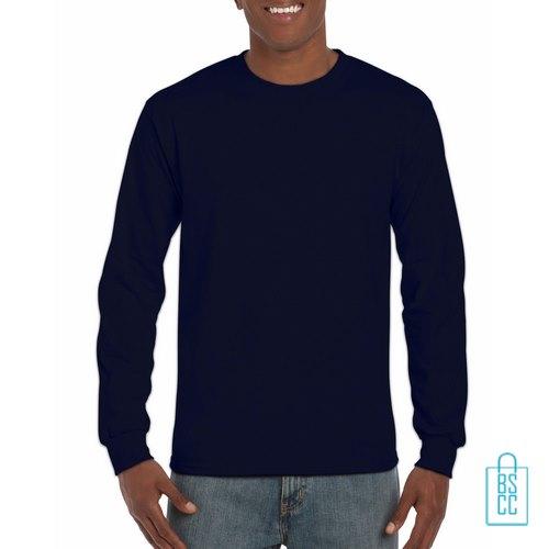 Longsleeve Heren Goedkoop bedrukken donkerblauw, longsleeve bedrukt, bedrukte lange mouw met logo