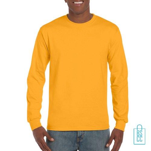 Longsleeve Heren Goedkoop bedrukken geel, longsleeve bedrukt, bedrukte lange mouw met logo