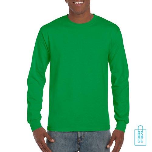 Longsleeve Heren Goedkoop bedrukken groen, longsleeve bedrukt, bedrukte lange mouw met logo