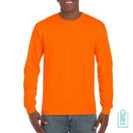Longsleeve Heren Goedkoop bedrukken oranje, longsleeve bedrukt, bedrukte lange mouw met logo