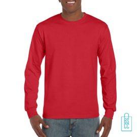 Longsleeve Heren Goedkoop bedrukken rood, longsleeve bedrukt, bedrukte lange mouw met logo
