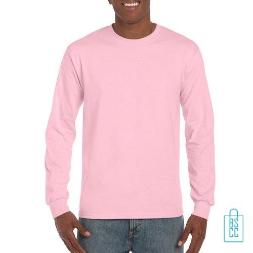 Longsleeve Heren Goedkoop bedrukken roze, longsleeve bedrukt, bedrukte lange mouw met logo