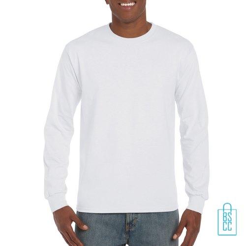 Longsleeve Heren Goedkoop bedrukken wit, longsleeve bedrukt, bedrukte lange mouw met logo