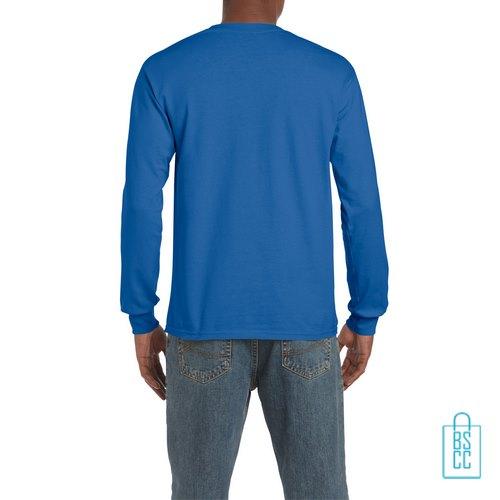 Longsleeve Heren Goedkoop bedrukt blauw, longsleeve bedrukt, bedrukte lange mouw met logo