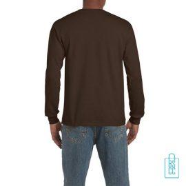 Longsleeve Heren Goedkoop bedrukt bruin, longsleeve bedrukt, bedrukte lange mouw met logo