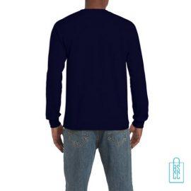 Longsleeve Heren Goedkoop bedrukt donkerblauw, longsleeve bedrukt, bedrukte lange mouw met logo