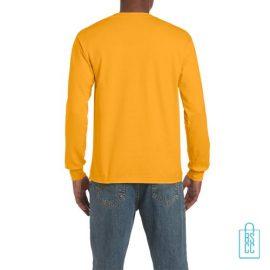 Longsleeve Heren Goedkoop bedrukt geel, longsleeve bedrukt, bedrukte lange mouw met logo