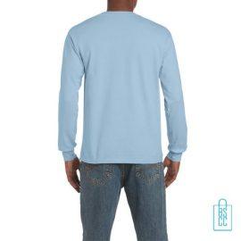 Longsleeve Heren Goedkoop bedrukt lichtblauw, longsleeve bedrukt, bedrukte lange mouw met logo