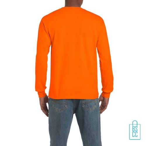 Longsleeve Heren Goedkoop bedrukt oranje, longsleeve bedrukt, bedrukte lange mouw met logo