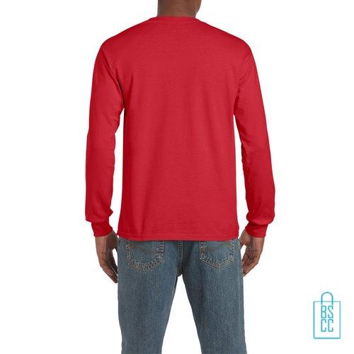 Longsleeve Heren Goedkoop bedrukt rood, longsleeve bedrukt, bedrukte lange mouw met logo