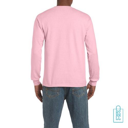 Longsleeve Heren Goedkoop bedrukt roze, longsleeve bedrukt, bedrukte lange mouw met logo