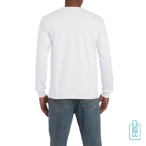 Longsleeve Heren Goedkoop bedrukt wit, longsleeve bedrukt, bedrukte lange mouw met logo