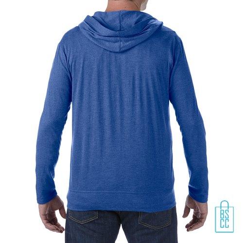 Longsleeve Heren Hoodie bedrukt blauwe, hoodie bedrukt, bedrukte hoodie met logo