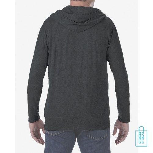 Longsleeve Heren Hoodie bedrukt grijs, hoodie bedrukt, bedrukte hoodie met logo