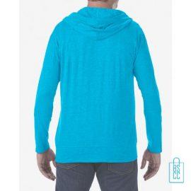 Longsleeve Heren Hoodie bedrukt lichtblauw, hoodie bedrukt, bedrukte hoodie met logo