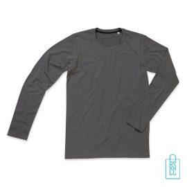 Longsleeve Heren Katoen Elastaan bedrukken grijs, longsleeve bedrukt, bedrukte longsleeve met logo