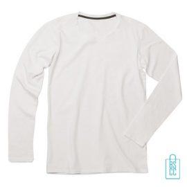Longsleeve Heren Katoen Elastaan bedrukken wit, longsleeve bedrukt, bedrukte longsleeve met logo