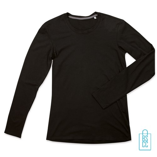 Longsleeve Heren Katoen Elastaan bedrukken zwart, longsleeve bedrukt, bedrukte longsleeve met logo