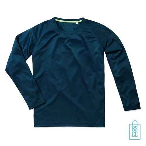 Longsleeve Heren Mesh bedrukken blauw, longsleeve bedrukt, bedrukte longsleeve met logo