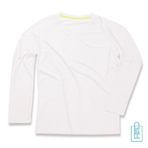 Longsleeve Heren Mesh bedrukken wit, longsleeve bedrukt, bedrukte longsleeve met logo