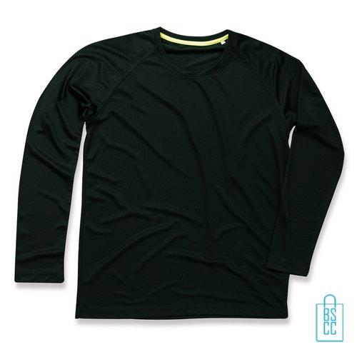 Longsleeve Heren Mesh bedrukken zwart, longsleeve bedrukt, bedrukte longsleeve met logo