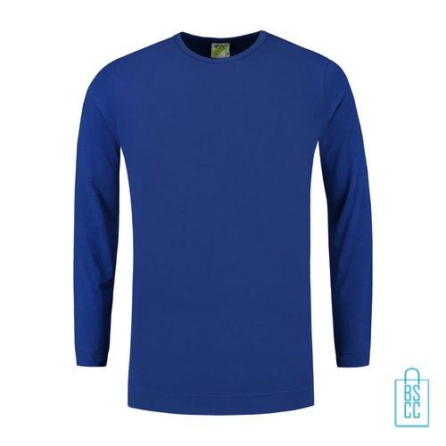 Longsleeve Heren Shirt bedrukken blauw, longsleeve bedrukt, bedrukte longsleeve met logo