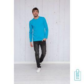 Longsleeve Heren Shirt bedrukken blauwe, longsleeve bedrukt, bedrukte longsleeve met logo