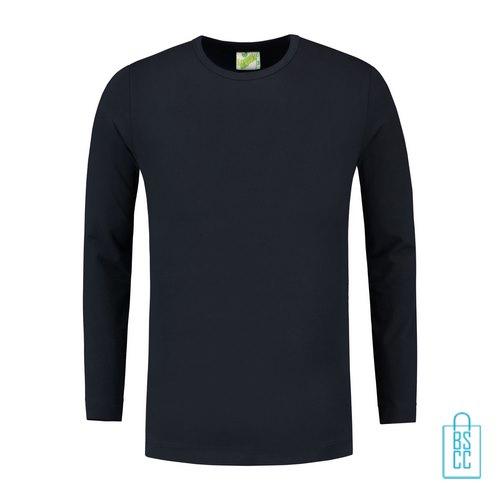 Longsleeve Heren Shirt bedrukken donkerblauw, longsleeve bedrukt, bedrukte longsleeve met logo