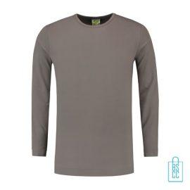 Longsleeve Heren Shirt bedrukken grijs, longsleeve bedrukt, bedrukte longsleeve met logo