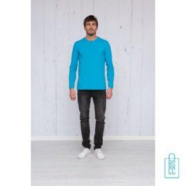 Longsleeve Heren Shirt bedrukken lichtblauw, longsleeve bedrukt, bedrukte longsleeve met logo