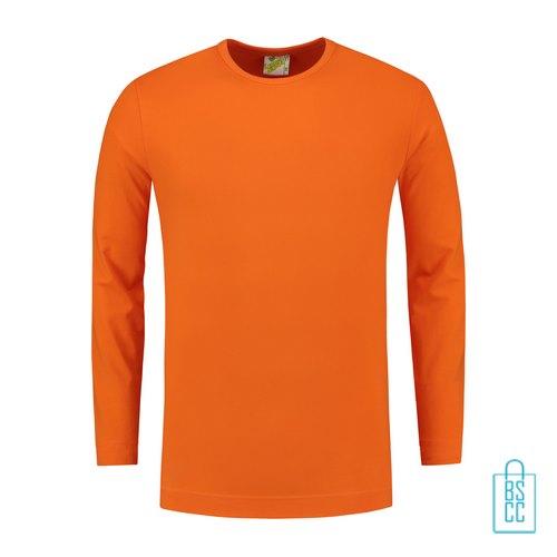 Longsleeve Heren Shirt bedrukken oranje, longsleeve bedrukt, bedrukte longsleeve met logo