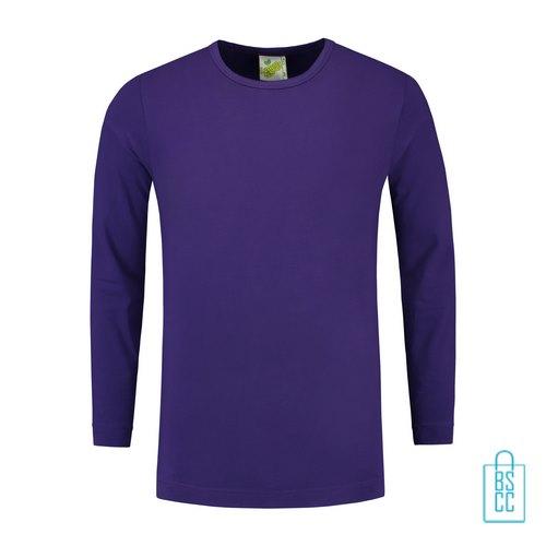 Longsleeve Heren Shirt bedrukken paars, longsleeve bedrukt, bedrukte longsleeve met logo