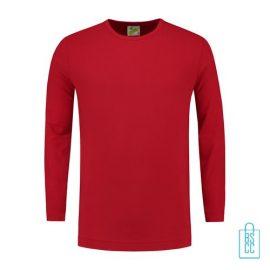Longsleeve Heren Shirt bedrukken rood, longsleeve bedrukt, bedrukte longsleeve met logo