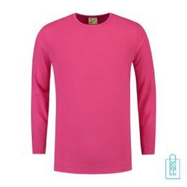 Longsleeve Heren Shirt bedrukken roze, longsleeve bedrukt, bedrukte longsleeve met logo