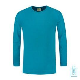 Longsleeve Heren Shirt bedrukken turkoise, longsleeve bedrukt, bedrukte longsleeve met logo