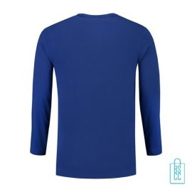 Longsleeve Heren Shirt bedrukt blauw, longsleeve bedrukt, bedrukte longsleeve met logo