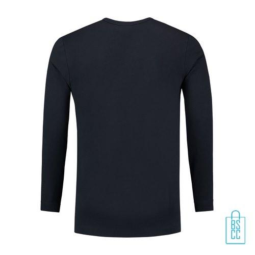 Longsleeve Heren Shirt bedrukt donkerblauw, longsleeve bedrukt, bedrukte longsleeve met logo